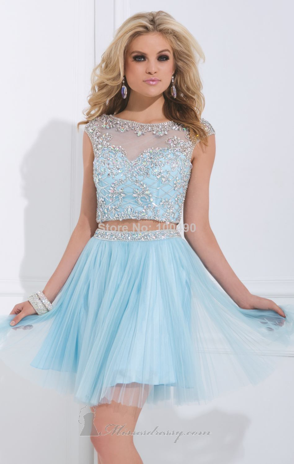two piece prom dress Light blue Orange High neck beads and ...