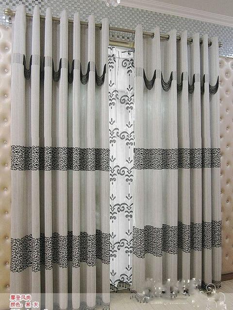 2014 nouvelle arrivée moderne brève gris rideau de style chinois ...