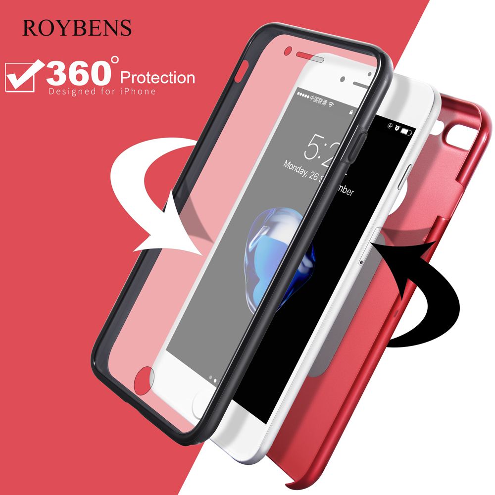 Galleria fotografica Roybens For iPhone 6S Case 360 Coverage Full Protection Cover For iPhone 6 6S 7 Plus Hard PC Back Front Transparent Silicon Case