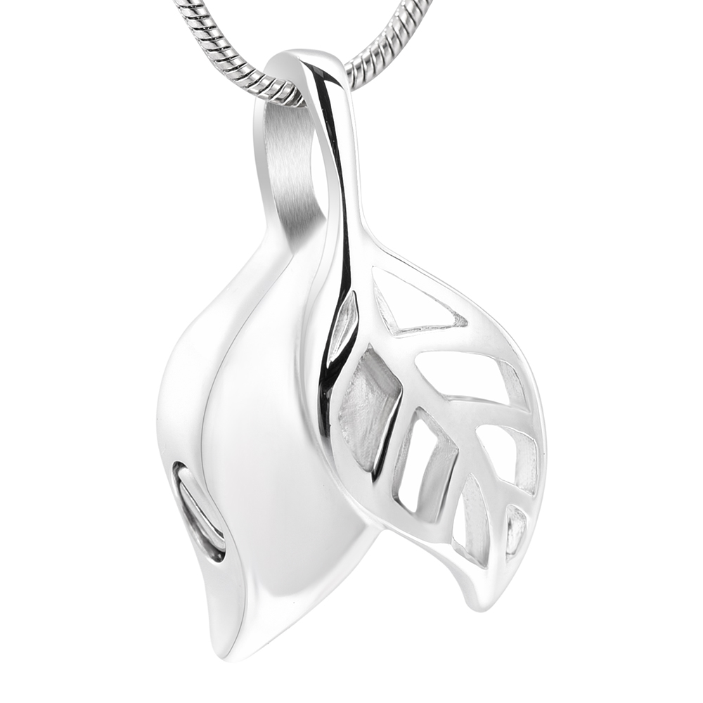 IJD10033 Stainless Steel Leaf Memorial Urn Necklace Hold HumanPet Ashes,Silver Leaf Cremation Jewelry Pendant
