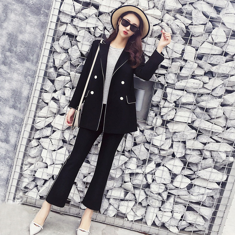 Women Outdoor Suits Black Solid Temperament Warm Pant Arrival New Comfortable Trend Suit Fashion Simple Flash Loose 7ZS5xwnqU6