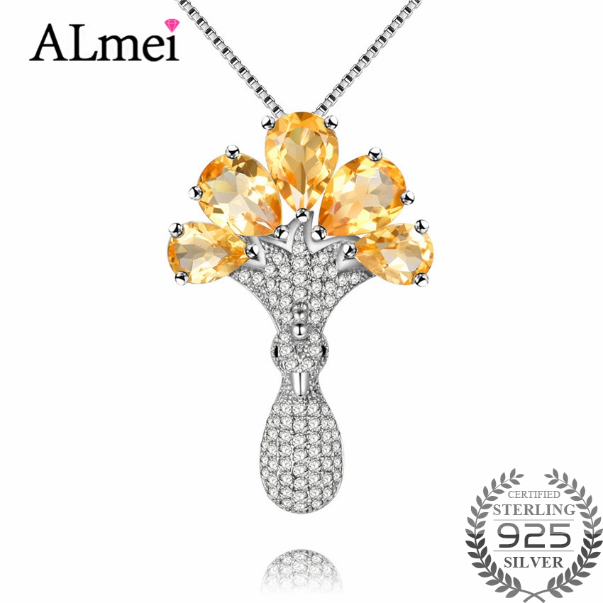 Almei Unique Crystal Plant 6ct Citrine 925 Sterling Silver Tree of Life Pendant Necklaces for Women