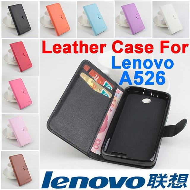 Litchi For Lenovo A526 case cover, Good Quality New Leather Case + hard Back cover For Lenovo A 526 Cellphone Case In Stock