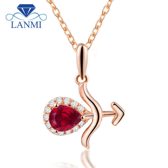 Cool Sagittarius Pendant Pear Cut 4x5mm Natural Ruby Solid 18K Rose