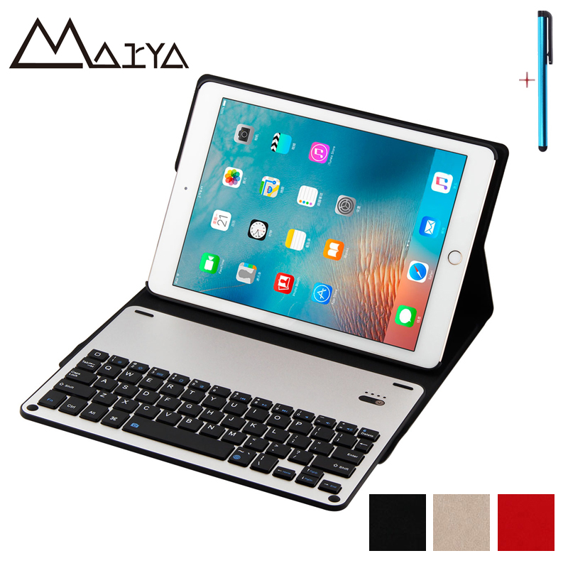 For ipad 2017 9.7 inch Case Tablet Removable Slim Wireless Bluetooth Aluminum Keyboard PU Leather Protective Cover For iPad 2017 universal removable wireless bluetooth keyboard pu leather case cover stand for 7 8 inch tablet pc with free stylus