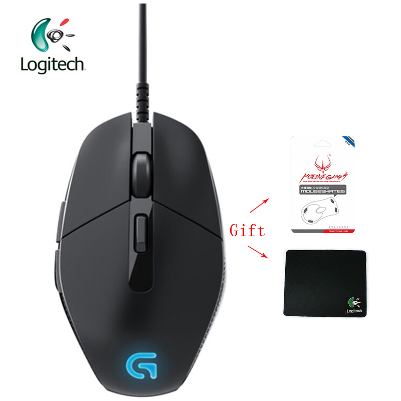 Logitech G302 Wired Gaming Mouse with Breathe Light 4000dpi USB Support Office Test for PC Game Windows10/8/7 + Free Gift logitech original g502 gaming mouse wired rgb game mouse for mouse gamer support desktop laptop support windows 10 8 7