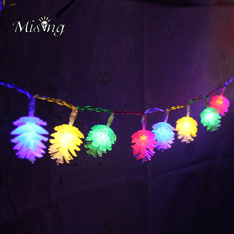 Mising 2 M 20 LED 3*AA Battery Pine Cone String Lights LED Fairy Lights Outdoor Garden Decoration Light for Festival Christmas