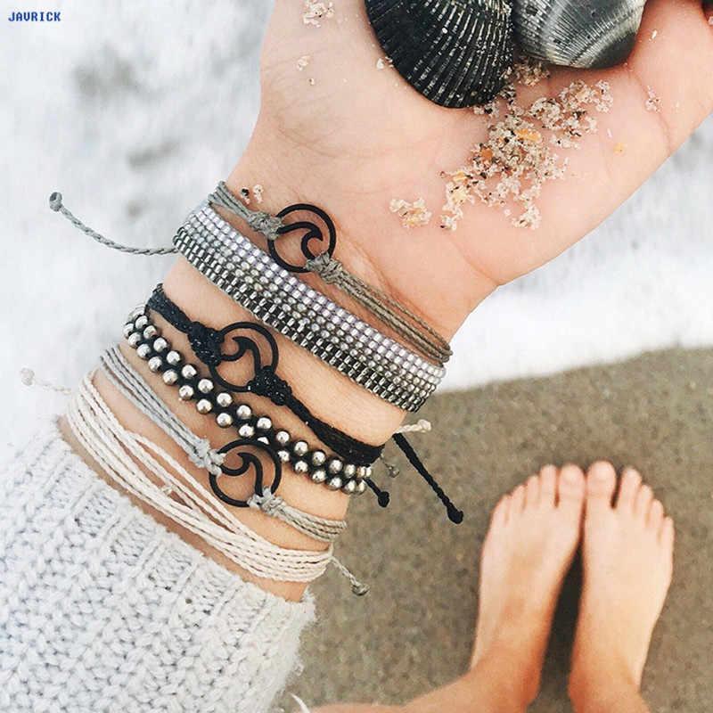 JAVRICK Chakra ลูกปัดสร้อยข้อมือเผ่าชาติพันธุ์มือถัก String Hemp สร้อยข้อมือเครื่องประดับชายหาด