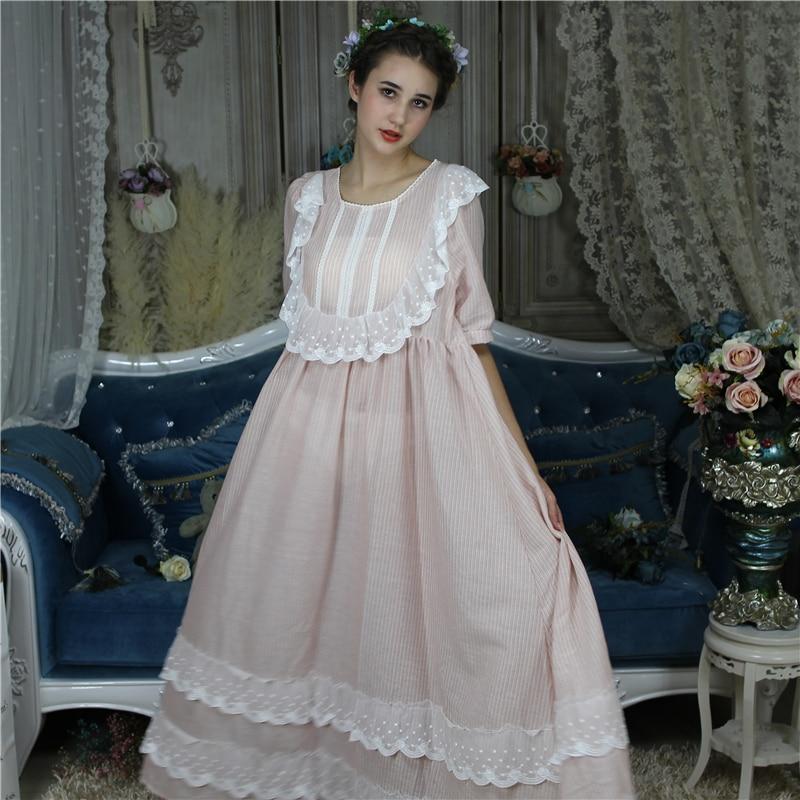 Womens Long Nightie Victorian Nightgown Sleepwear Robe Vintage Ruffle Dress Pink Princess Nightdress Plus Size Cotton Homewear