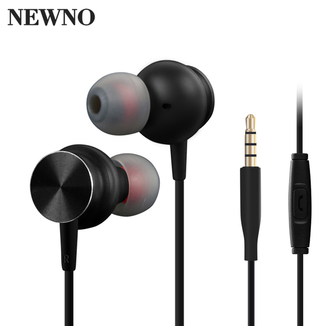 NEWNO Stereo Earphone Headphone Metal Magnetic Heavy Bass Sound Quality Music Headset with microphone Earpiece Earbuds For Phone