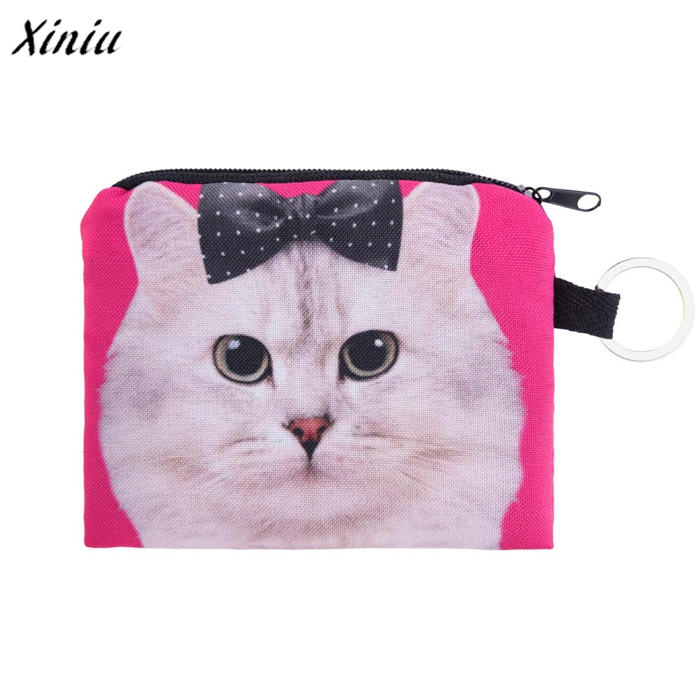 New Cute Cat Face Zipper Case Coin Purse female Girl Printing Coins Change Child Purse Makeup Bag Clutch Wallet Phone Key Bags high quality women printing coins change purse clutch zipper zero wallet phone key bags 8 color drop shipping wholesale 170215