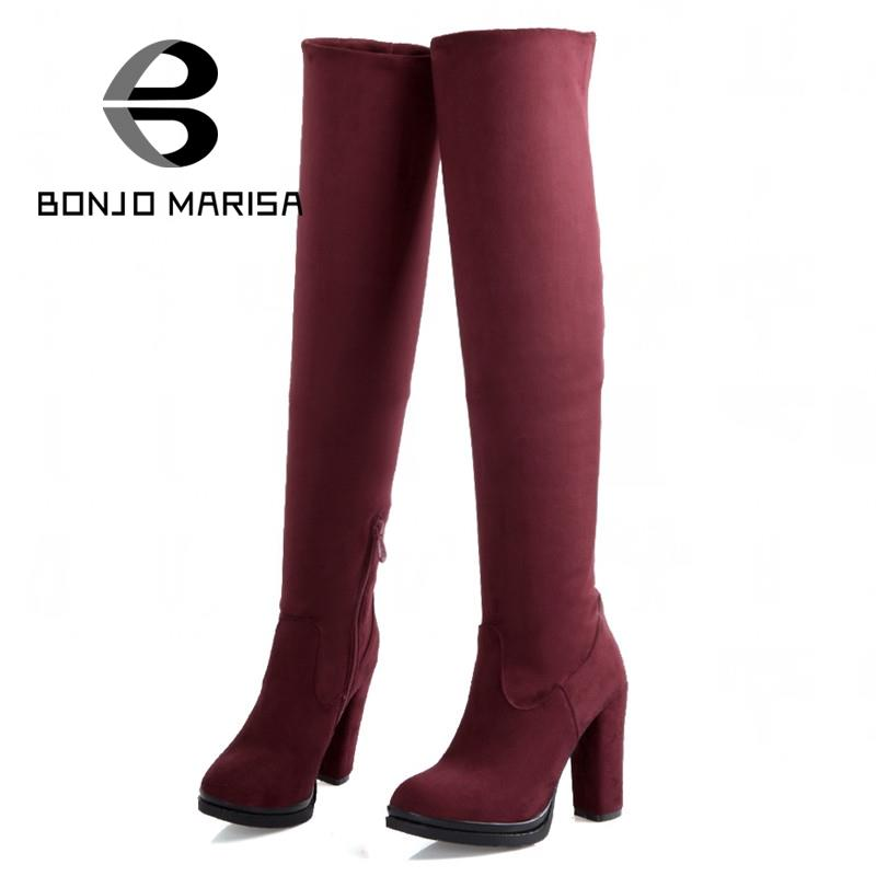 BONJOMARISA Winter Add Fur Over Knee Boots Autumn High Heels Platform Shoes For Woman Big Size 32-43 Sapatos Femininos big size 34 43 lady s ankle boots women add fur fall winter boots platform square high heels rubber sole shoes woman