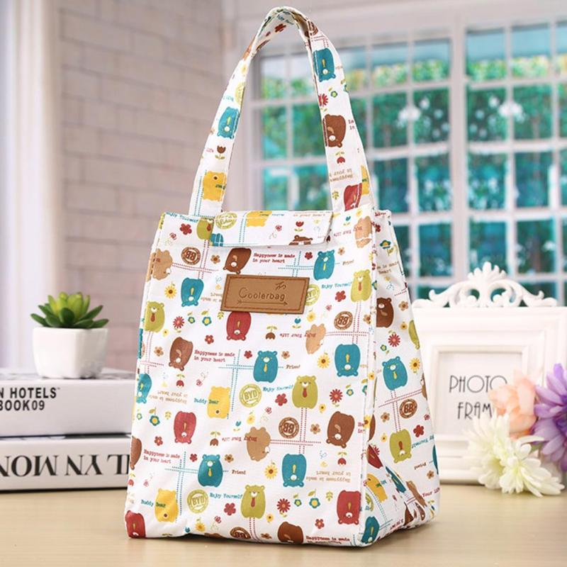 Cute Cartoon Women bag Flower Animals Printing Oxford Storage Bags Kawaii Lunch Bag for Girls Food Bag School Lunch Box Z0 luxury brand lunch bag for women kids men oxford cooler lunch tote bag waterproof lunch bags insulation package thermal food bag