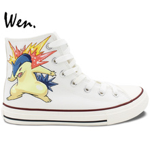 Wen Anime Pokemon Hand Painted Shoes Design Custom Typhlosion High Top Canvas Sneakers for Men Women's Gifts