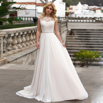 Fmogl Sexy Backless Sashes Chiffon A Line Wedding Dresses 2019 Elegant Appliques Cap Sleeve Vintage Bridal Gowns Plus Size