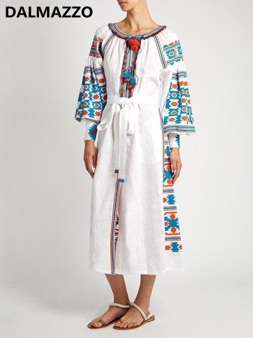 e64ae62ed4 Bordados étnicos Mexicano Harajuku Solto Vestido Longo Maxi Vestidos de  Algodão Roupas de Alta Qualidade Das