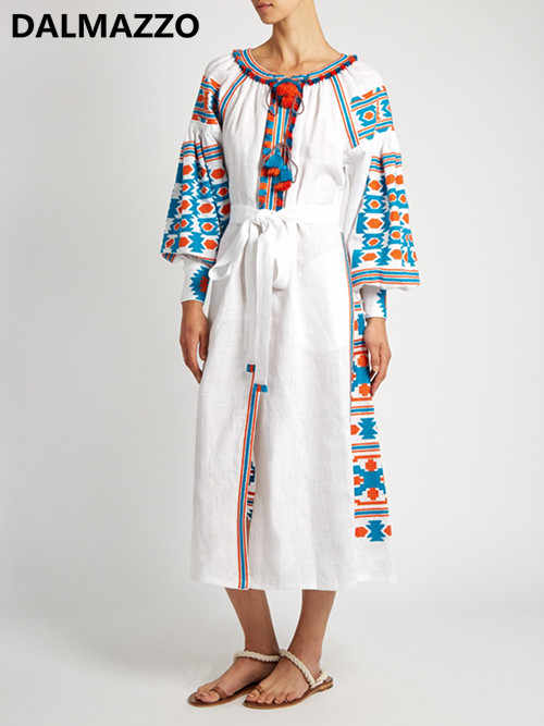 512e2f065df Detail Feedback Questions about Ethnic Embroidery Mexican Harajuku Loose Long  Maxi Dress Women 2018 Newest Autumn Luxury Cotton Dresses High Quality  Clothes ...