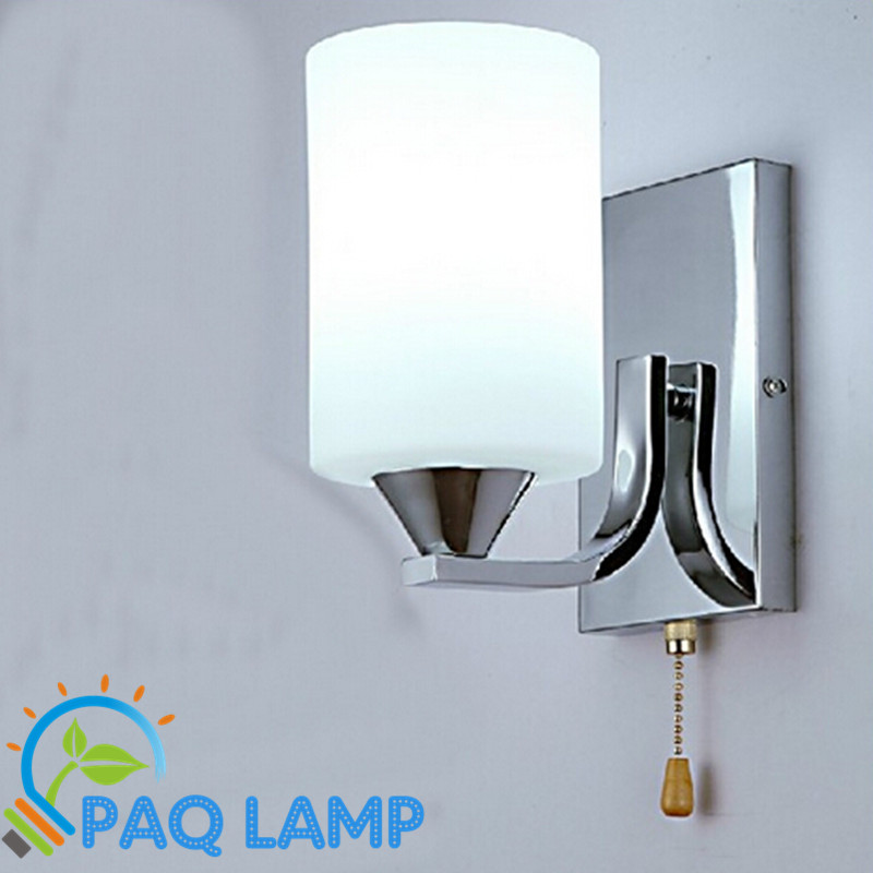 Simple wall lamp indoor lighting white glass lampshade chain switch sitting room bedroom LED ...