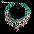 Dvacaman 2016 Exaggerated  Fashion Colorful Gem Flower Statement Necklace Vintage Maxi Choker Necklaces & Pendants Jewelry 8023