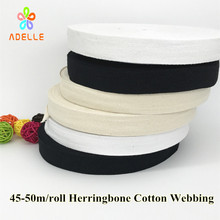 Natural color 25mm x50yard Cotton Webbing Bunting Herringbone Twill Apron Sewing Tape Strip bias binding free shipping Wholesale