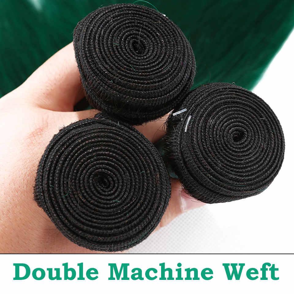 Омбре 1B зеленые бразильские пучки волос плетение 3 шт прямые человеческие волосы для наращивания предварительно цветные двухцветные темные корни не Реми