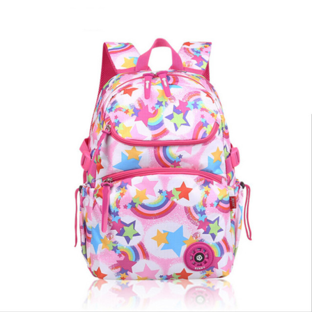 b90ec1593434 school bags for girls mochila infantil Children backpacks elementary school  backpack waterproof nylon pink star rainbow