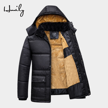 HMILY Winter Thick Jacket Men Warm Parkas Cotton Padded Hooded Fleece Coats Male Middle age Overcoat Father Outerwear