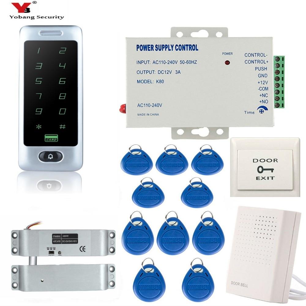 OBO HANDS Waterproof Access Controller Touch Metal Keypad Door Lock System C40 Silver RFID Card Reader+10pcs TK4100 Keyfobs