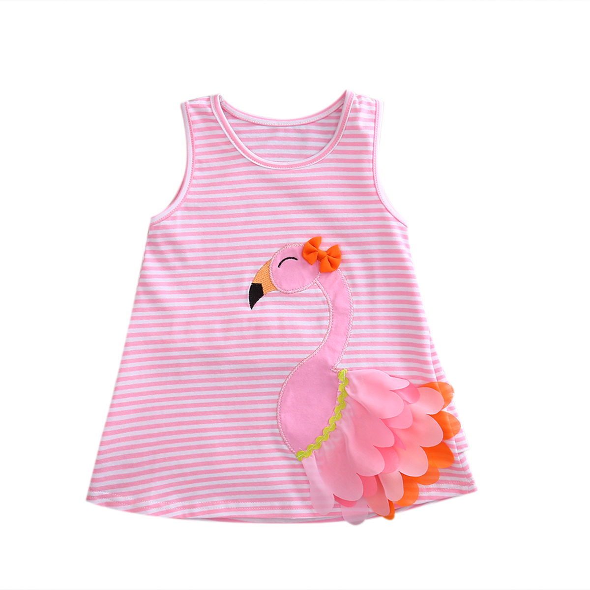 Infant Baby Girls Clothes 3D Swan Pink Striped Dress Summer Toddler Girls Sundress pink swan 100