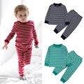 Baby Boy Meninas Crianças Listrado Sleepwear Conjuntos de Pijama de Algodão de Manga Longa Homewear Conjuntos de Roupas de Natal Para Criança Crianças
