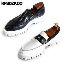 Moda Plataforma Creepers Deslizar Sobre Mocassins Brancos Sapatos De Grife Homens de Alta Qualidade Luxo Europeu Real Couro Genuíno Tamanho Grande