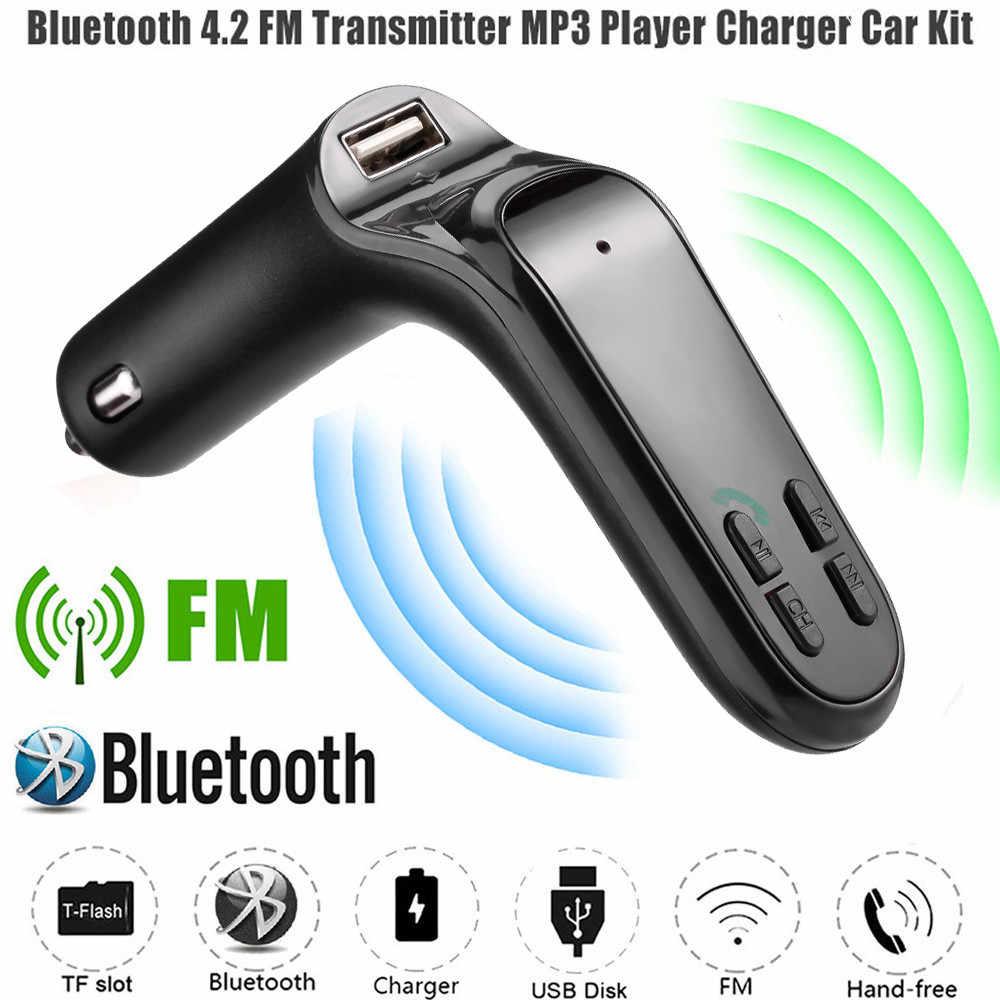 ワイヤレスfmトランスミッタ変調器車のbluetoothキットG7 充電器にアップグレードC8 auxハンズフリー車の音楽プレーヤー