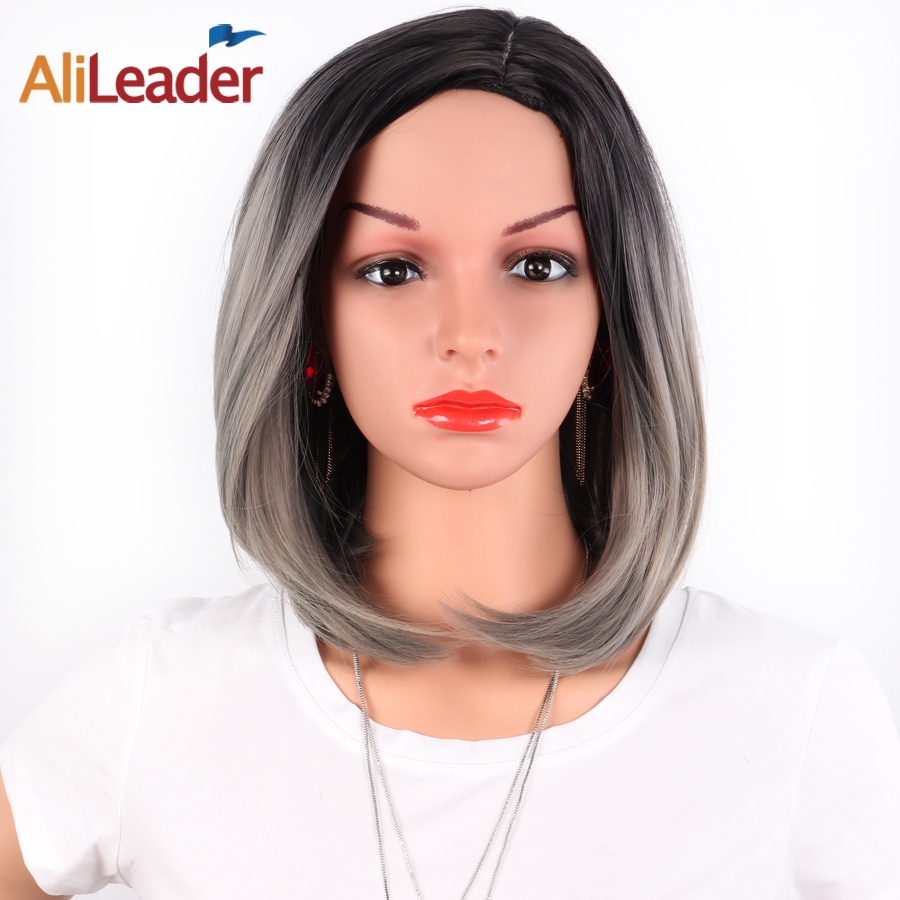 Alileader Short Bob Wig Synthetic Material Full Machine Made Glueless Ombre Silver Gray Heat Resistant Hair Wigs For Women