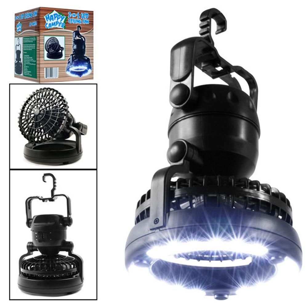 2 In 1 With 18 LED Tent Light Ceiling Fan Portable Camping Suitable For Outdoor Hiking Fishing