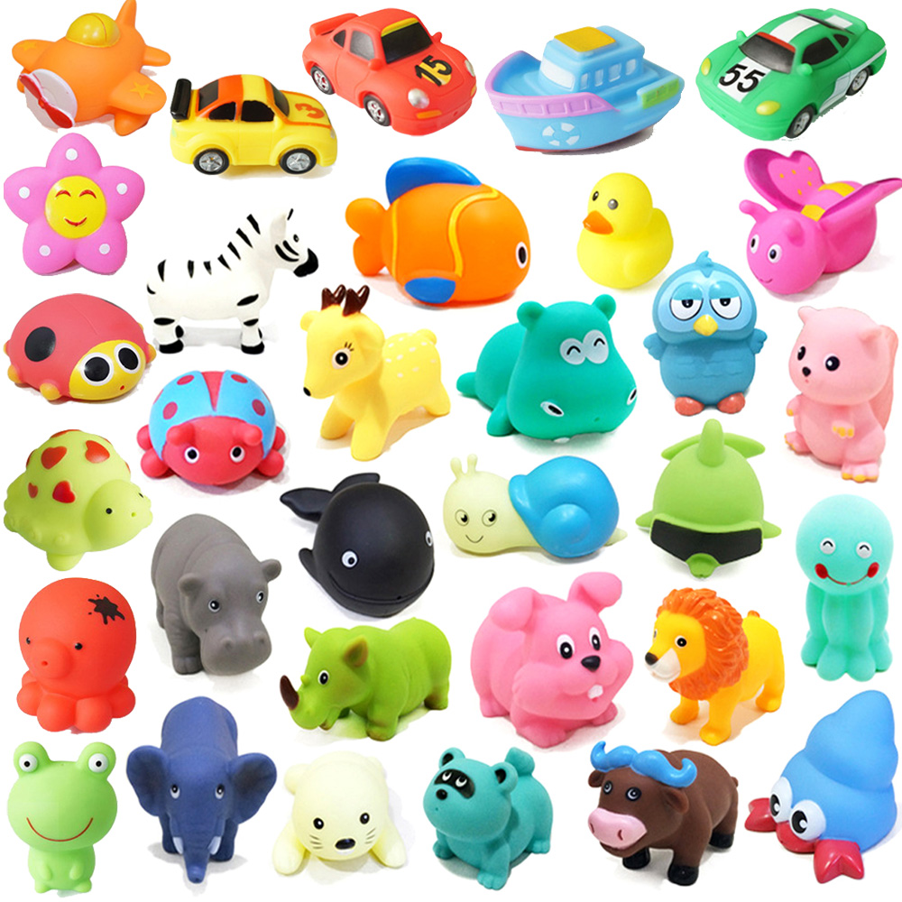 1PCS Mixed Animals Bath Toys Swimming Pool Water Toys Soft Floating Rubber Duck Squeeze Sound Squeaky Bathing Toy For Baby Gifts