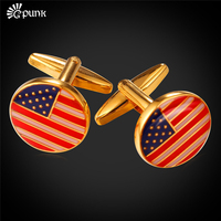 American Flag Round Classic Cufflinks For Men Wholesale 18K Real Gold Plated USA Flag Trendy French