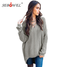 SEBOWEL Casual Autumn Winter Cable Knitted Oversize Sweater Tops Women Sexy Crisscross V-Neck Pullover Jumper Pull Femme