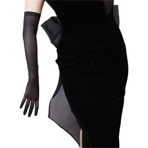 Image 4 - Черные шелковые перчатки 52 см сверхдлинные секционные высокоэластичные кружевные сетчатые черные вечерние платья для невесты WWS04