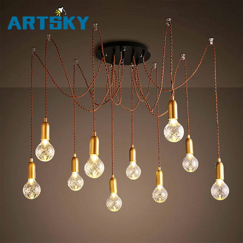 2016 Retro Vintage LED Multi-Head Pendant Light Lamp  Creative Personality Industrial Lamp American Style for Living Room