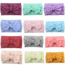 12 Colors Infant Baby Girl Tie Bowknot Nylon Headband Solid Color Newborn Girls Hair Accessories Lovely Headwear Cute Gifts