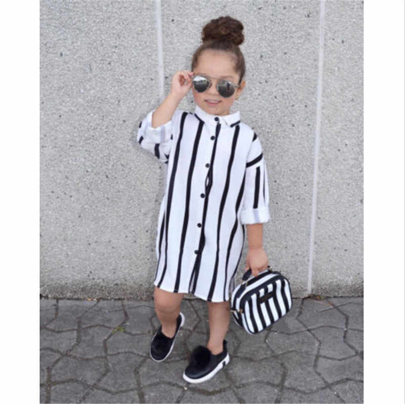 Little Ladies Lovely Children Girls Shirts Long Sleeve Striped Toddler Girls Kid Fashion Buttons Long Shirt