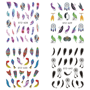 Image 3 - 1pcs Water Decals Nail Art Sticker Dream Catcher Feather Watermark Adhesive Sliders Tips Wraps Decoration Manicure BESTZ628 644