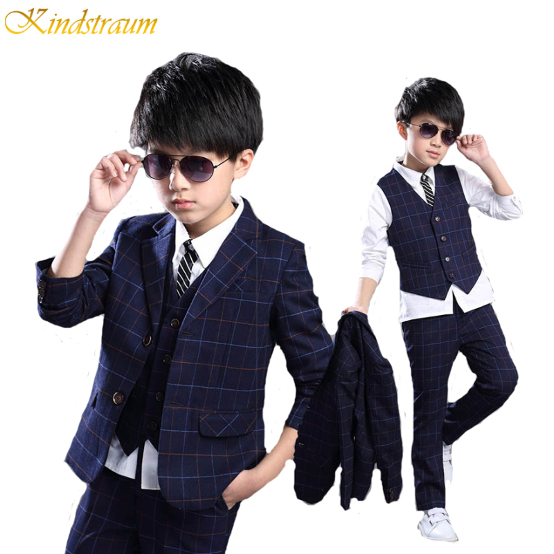 Kindstraum 2017 New Children Formal Suits For Boys 4-14Y Autumn Plaid Clothing Sets Blazer + Vest + Pant 3pcs Wedding Wear,MC156 kindstraum school trend boys formal clothing suits shirt vest pants tie 4 pcs set children sets party