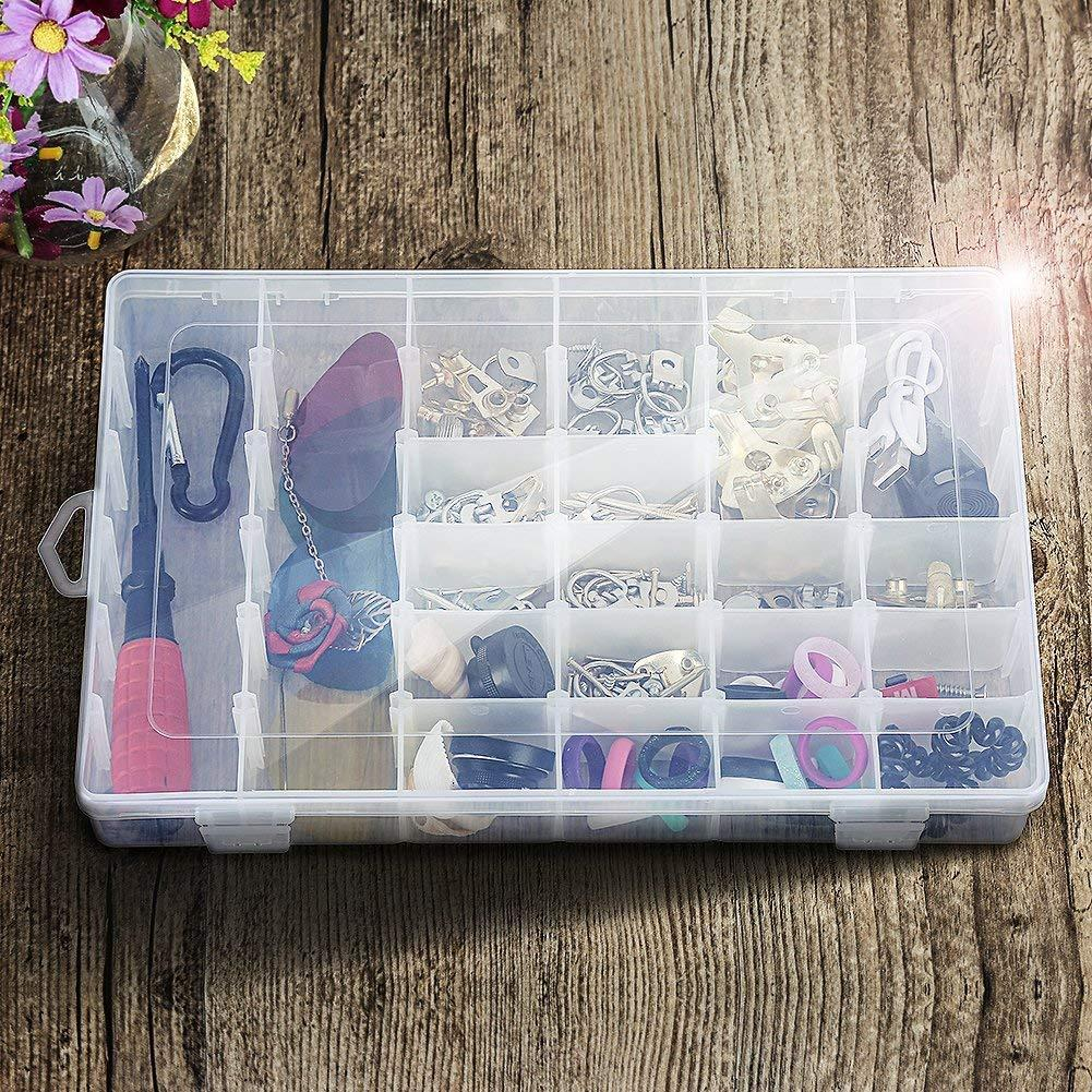 36 Compartments Adjustable Dividers Jewelry Storage Organizer Fashion Container Box