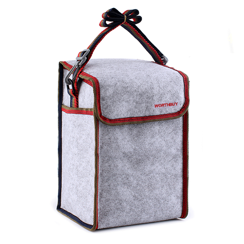 Felt Thermal Lunch Bags Women Kids Bento Box Weekend Travel Picnic Drink Food Insulated Shoulder Cooler Pouch Storage Container