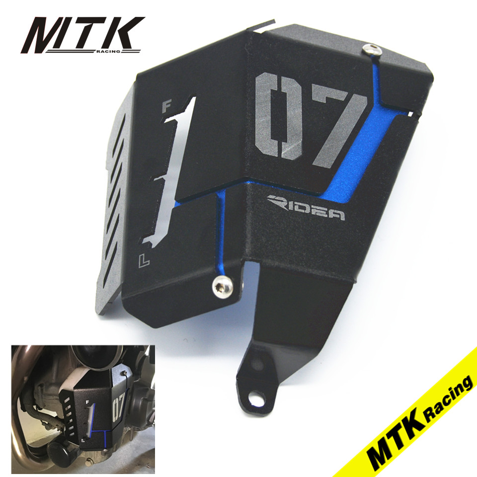 MTKRACING MT-07 Water Coolant Recovery Tank Shielding Guard Frame Radiator Side Cover Protector For Yamaha MT FZ 07 14-17 for yamaha mt 07 mt 07 fz07 mt07 2014 2015 2016 accessories coolant recovery tank shielding cover high quality cnc aluminum