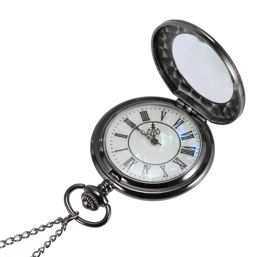 Vintage Quartz Pocket Watch Roman Numerals Dial Clear Flip Cover Alloy Chain Pendant Watches Gift LL@17