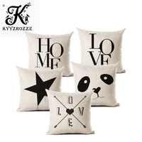 Домашние Чехлы хлопковый льняной подушки с надписью Love, черный и белый цвета, наволочка для дивана и кровати, декоративная наволочка almofadas ...