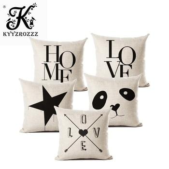 С надписью «Love» для дома подушки Чехлы хлопковый льняной черный, белый цвет наволочка диван-кровать Nordic Декоративная Подушка Чехол almofadas ра...