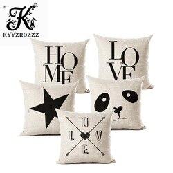 Carta amor casa capas de almofada de linho de algodão preto branco capa de almofada sofá cama nórdico decorativo travesseiro caso 45x45cm